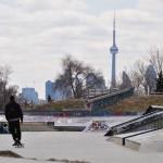 Le centre-ville de Toronto depuis Coxwell Avenue (à l'est - quartier Upper Beaches)