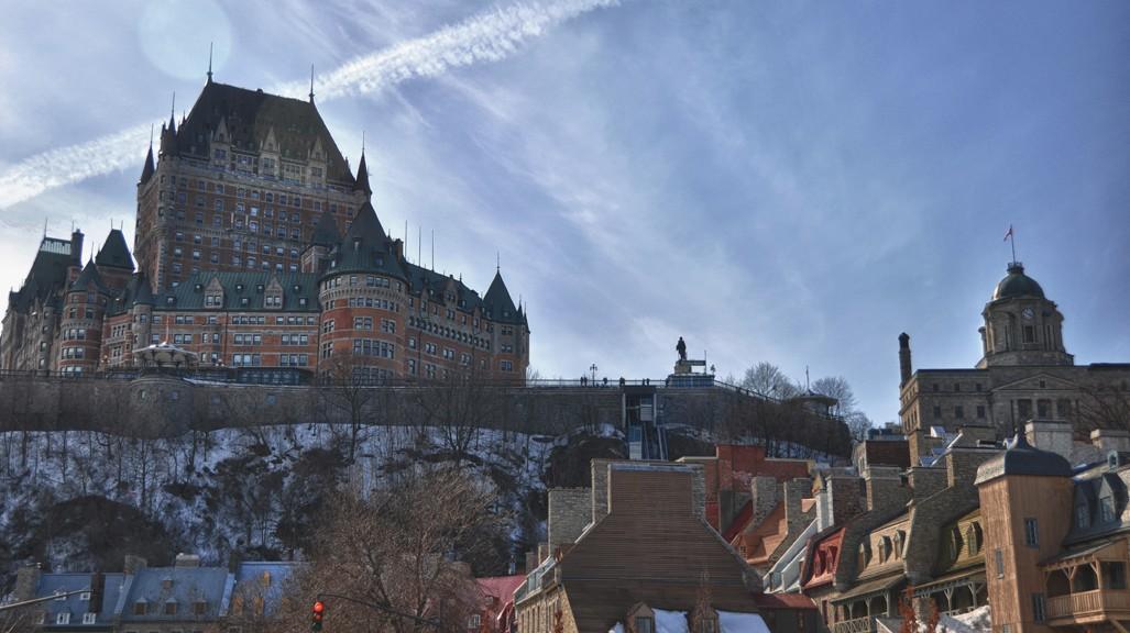 Le chateau Frontenac vu depuis le quartier du Petit Champlain