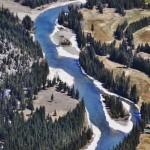 La rivière Bow vue depuis le sommet de Sulfur Mountain à Banff