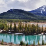 La Bow River et les Rocheuses le long de la Highway 1A dans le parc national de Banff